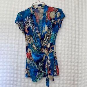 Cache Beach Print Wrap Style Short Sleeve Top